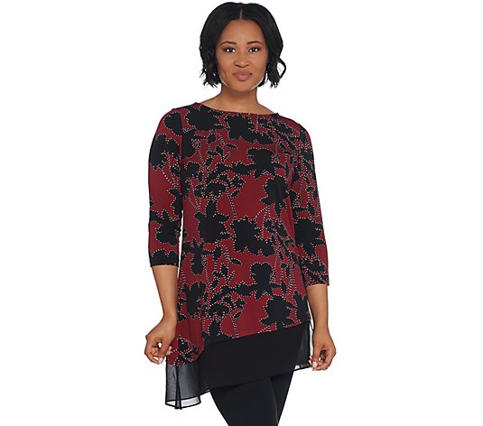 """As Is"" Susan Graver Printed Liquid Knit Asymmetrical Top w/Chiffon"