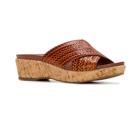 Patricia Nash Leather Wedge Slides - Luca