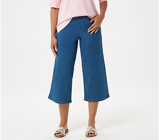 Martha Stewart Regular Knit Denim Pull-On Culotte Jeans
