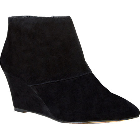Sole Society Pointed Toe Suede Wedge Booties -Galaossi