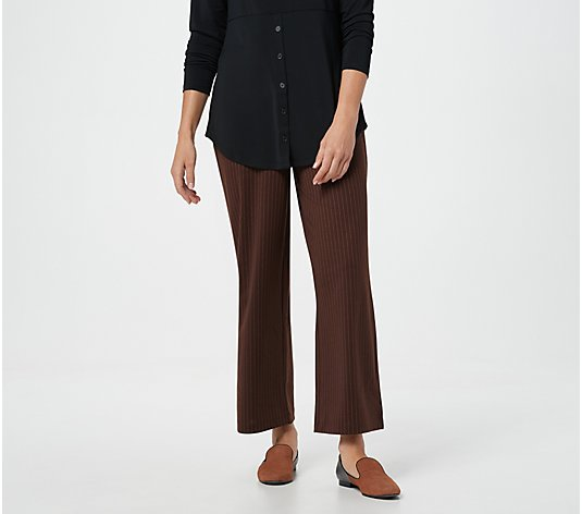Joan Rivers Pinstripe Petite Wide Leg Pull-On Ankle Pants