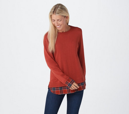 Joan Rivers Long Sleeve Sweater with Plaid Details