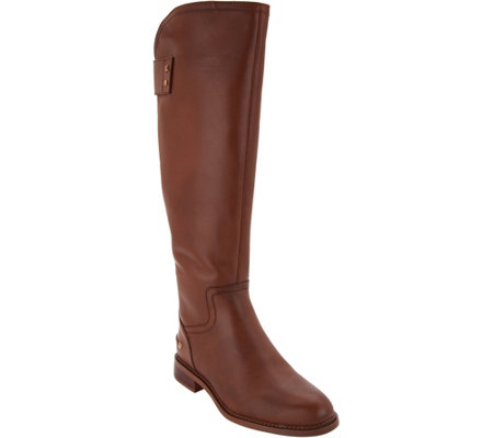 """As Is"" Franco Sarto Leather Medium Calf Tall Boots - Henrietta"