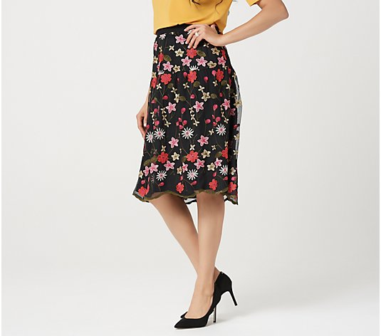 Linea by Louis Dell'Olio Floral Embroidered Skirt