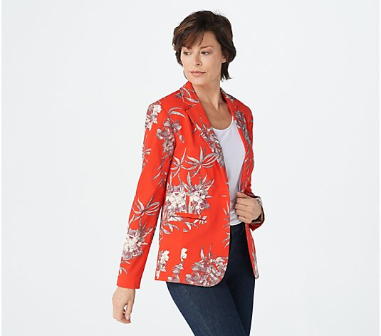 G.I.L.I. Solid or Printed Button Front Stretch Blazer