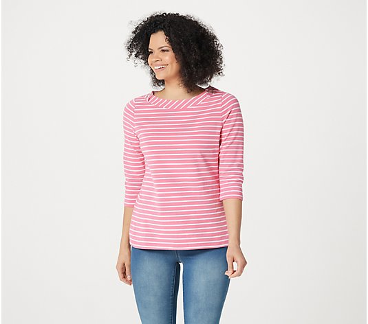 Denim & Co. Essentials Striped Jersey Boatneck 3/4-Sleeve Top