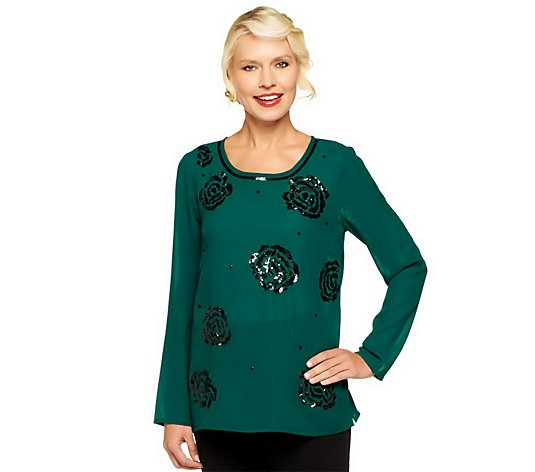 """As Is"" Kelly by Clinton Kelly Rose Sequin Chiffon Blouse"