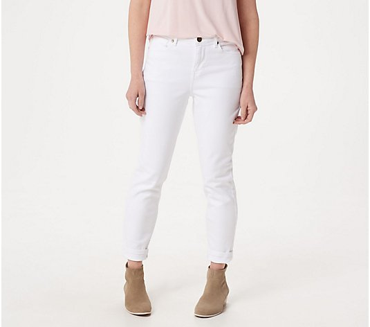 """As Is"" BROOKE SHIELDS Timeless Tall Ankle Jeans - white"