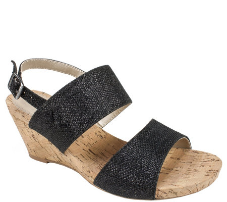 White Mountain Glitter Wedge Sandals - Alexus