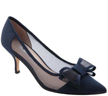 Nina Mid Heel Pointed Toe Pumps Bianca
