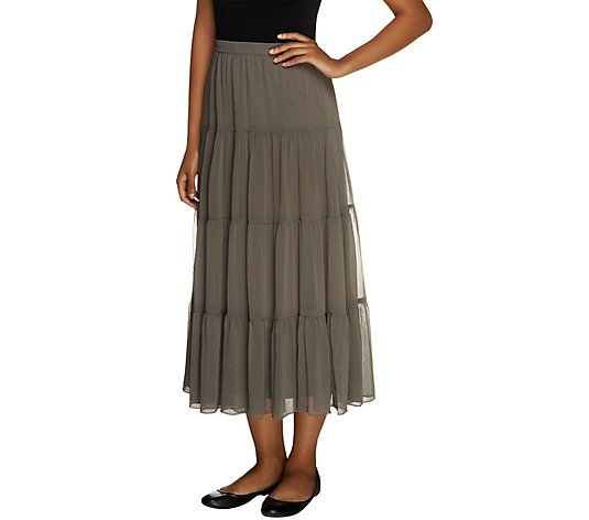 Linea by Louis Dell'Olio 4-Tier Crinkle Boho Skirt