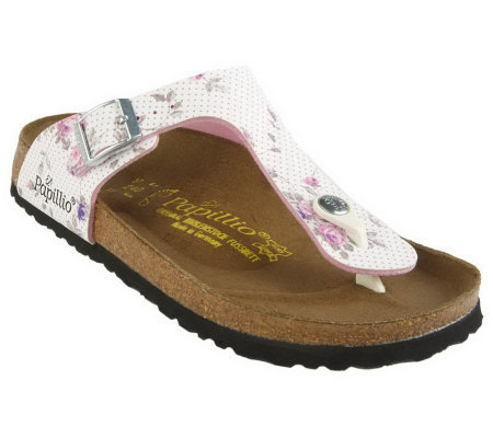 600bf1a8f37 Papillio Rose Garden Adj. Buckle Thong Sandals - Page 1 — QVC.com