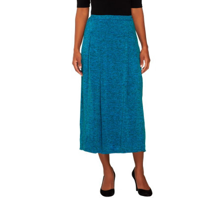 Linea by Louis Dell'Olio Pull-On Knit Skirt w/ Pleat Detail