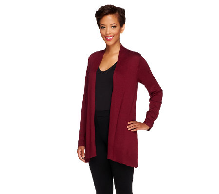 Susan Graver Cascade Front Long Sleeve Cardigan Sweater