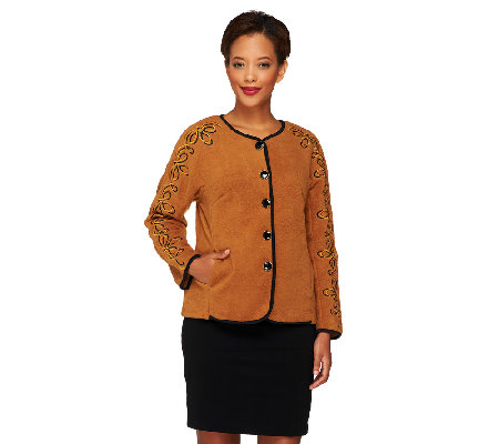 Bob Mackie's Button Front Fleece Jacket with Sleeve Embroidery