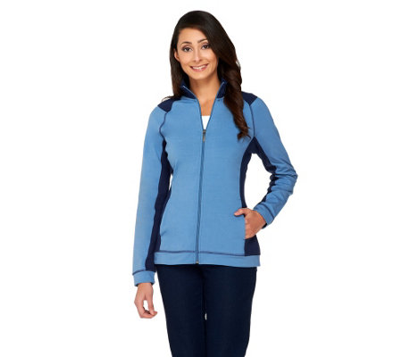Denim & Co. Active Duo-Stretch Zip Front Jacket