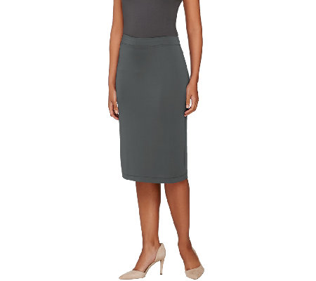 Susan Graver Premier Knit Comfort Waist Pull-On Slim Skirt