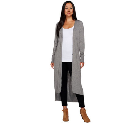 H by Halston Regular V-neck Button Front Long Cardigan