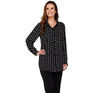 Joan Rivers Sweetheart Print Silky Blouse - A273909