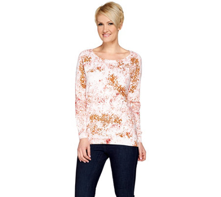 H by Halston Long Sleeve Printed Pullover Sweater
