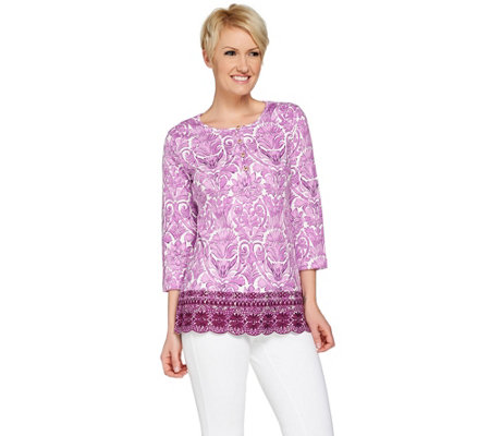 Isaac Mizrahi Live! Watercolor Damask Knit Embroidered Top