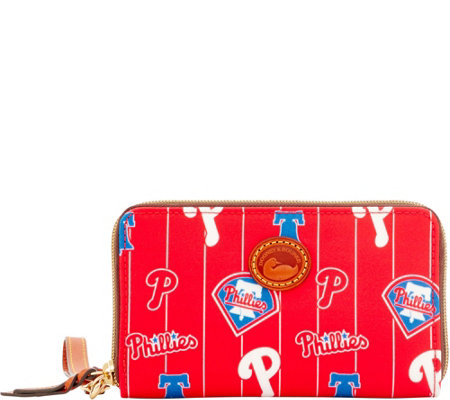Dooney & Bourke MLB Nylon Phillies Zip Around Phone Wristlet