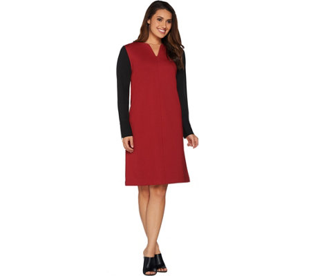 Kelly by Clinton Kelly Georgette Sleeve V-Neck Ponte Dress