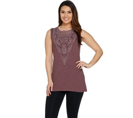 """As Is"" LOGO by Lori Goldstein Cotton Slub Knit Tank with Mesh Insert"