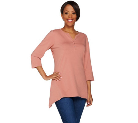 """As Is"" Denim & Co. 3/4 Sleeve Henley Top with Trapeze Hem"