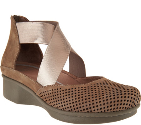 Dansko Nubuck Leather Perforated Slip-on Shoes - Laura