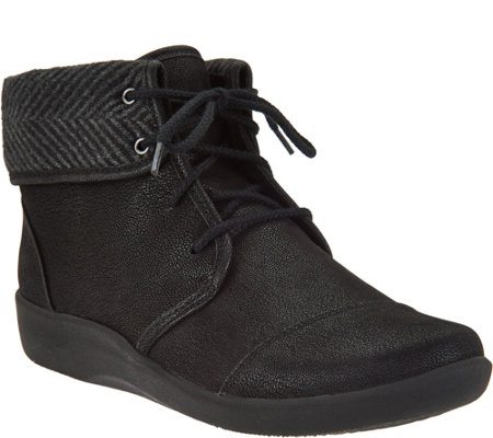 """As Is"" Clarks Cloud Steppers Lace-up Ankle Boots - Sillian Frey"