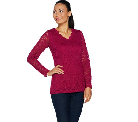 Susan Graver Stretch Lace V-Neck Long Sleeve Top