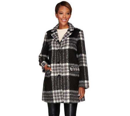 """As Is"" Isaac Mizrahi Live! Plaid Brushed Camel Hair Coat"