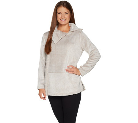 AnyBody Loungewear Frosted Fleece Pop-Over with Pockets