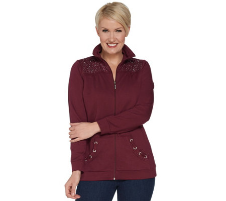 Quacker Factory Zip Front Rhinestone Jacket