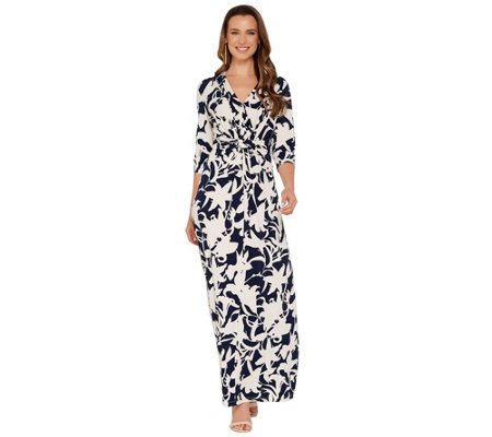 G.I.L.I. Regular 3/4 Sleeve Twist Front Maxi Dress