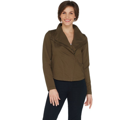 Laurie Felt Twill Military Asymmetric Zip Jacket