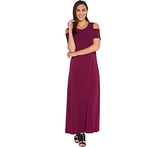 Kelly by Clinton Kelly Regular Cold Shoulder Knit Maxi Dress