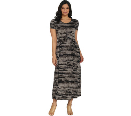 H by Halston Petite Printed Jet Set Jersey Maxi Dress