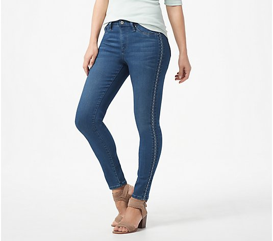 Laurie Felt Silky Denim Tuxedo-Stitch Skinny Pull-On Jeans