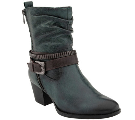 Earth Leather Ankle Boots w/ Strap Details - Spruce