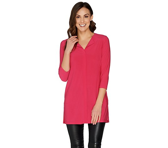 """As Is"" Attitudes by Renee Como Jersey Collar- less Tunic"