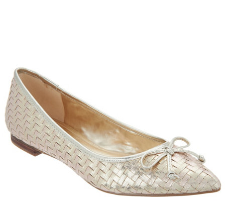 """As Is"" Marc Fisher Woven Pointed-Toe Flats- Apala"