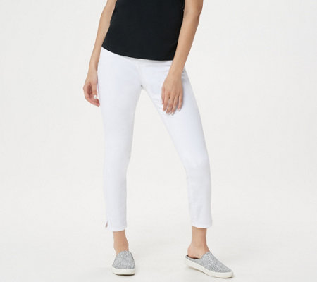 Nydj Ami Skinny Ankle Jeans With Side Slits Optic White