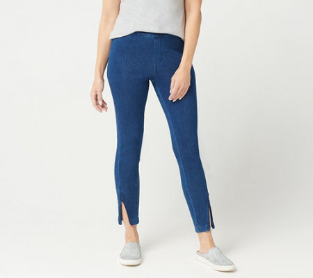 H by Halston Petite Knit Denim Ankle Pants with Zipper Detail