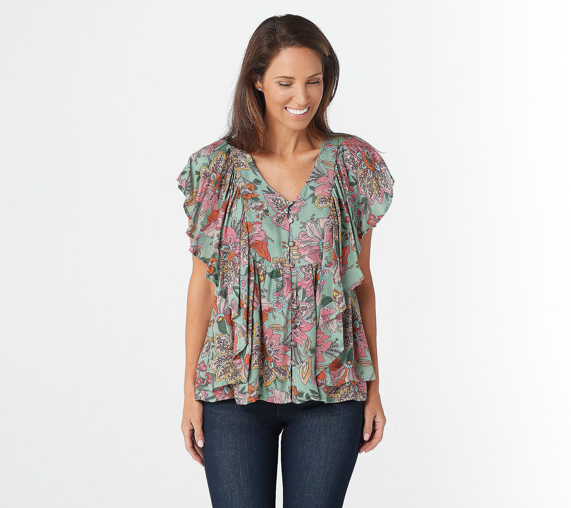 Final Sale NO Returns Last ONE in Stock! Paisley Flutter Sleeve Top Blouse Shirt