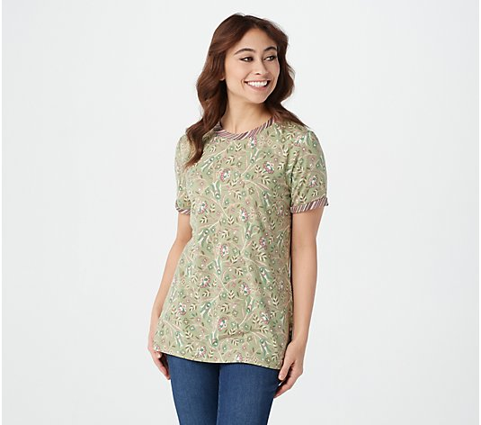 Isaac Mizrahi Live! TRUE DENIM Floral T-Shirt with Contrast Sleeve