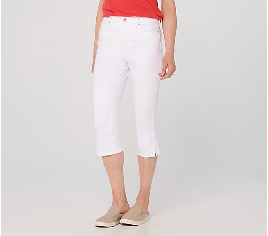 Isaac Mizrahi Live! Regular TRUE DENIM Capri Jeans w/ Hardware -White
