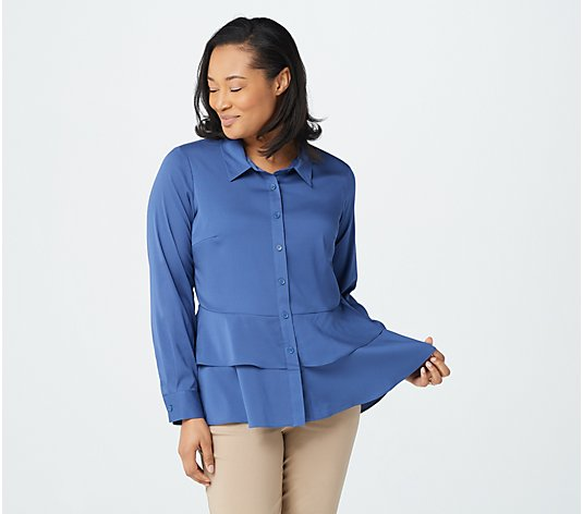 """As Is"" Joan Rivers Long- Sleeve Silky Blouse with Layered Hem"