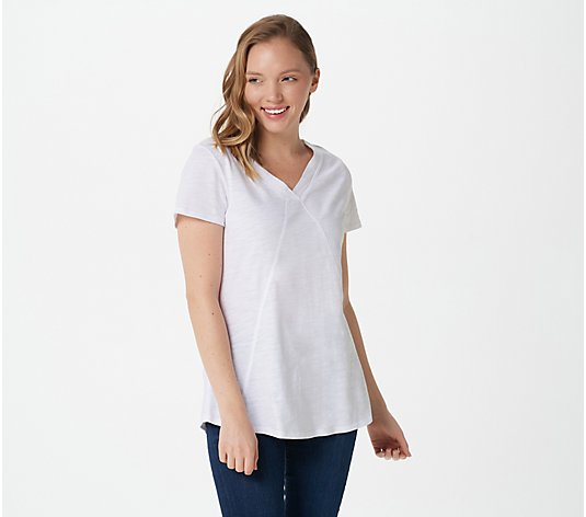 Belle by Kim Gravel Slub Knit V-Neck Top with Stitch Detail